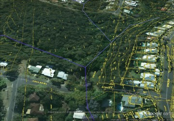 The path of Western Creek through the bushland above Couldrey Street, showing features from the City Council's 'Detail Plans' from the 1940s-1960s.