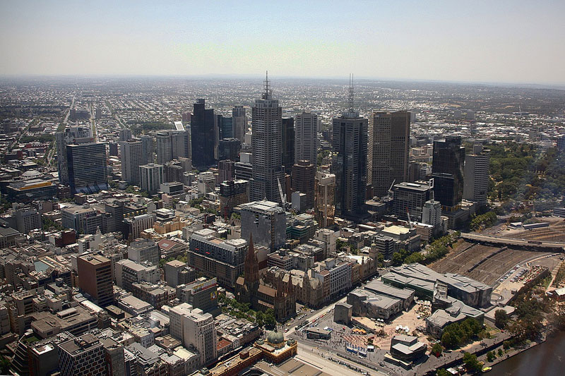 The view of Melbourne from the observation deck on the 88th floor of the Eureka Tower.