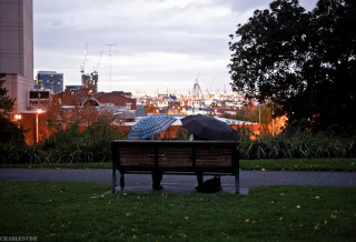 The view from Flagstaff Gardens towards Melbourne's harbour.