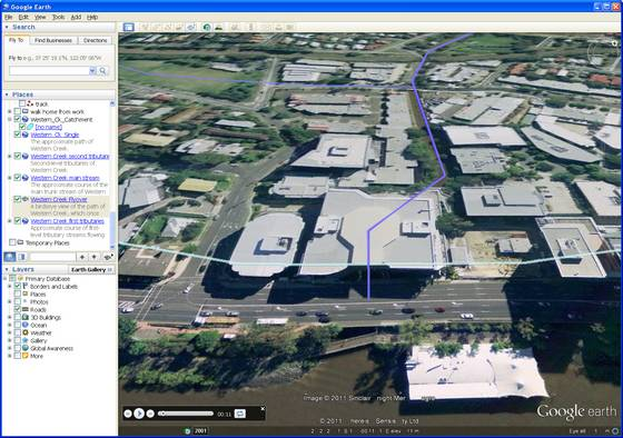 Screenshot of the Western Creek flyover in Google Earth