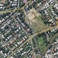 The path of Western Creek / Milton Drain through Frew Park and Milton Park (Google Maps)