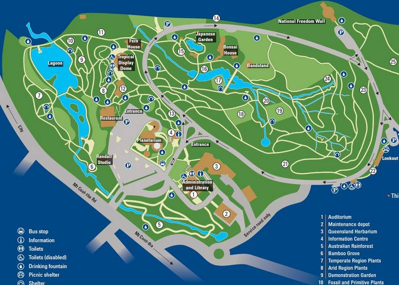 Part of the visitor's map of the Mount Coot-tha Botanical Gardens. The ponds and waterways, while not entirely natural, are all part of the Langsville Creek system.