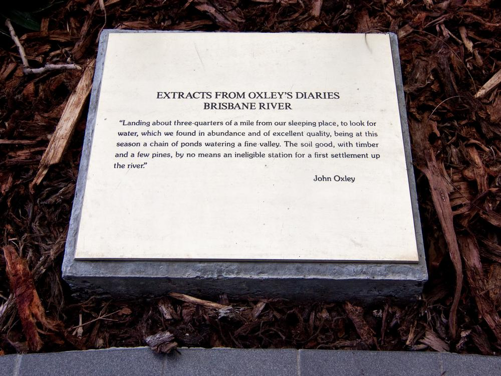 An extract from John Oxley's field book in the courtyard at the John Oxley Centre