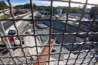 A view of the Legacy Way construction site from the pedestrian overpass.