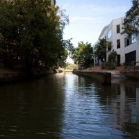 Milton Drain from behind Gardner's Close and the John Oxley Centre