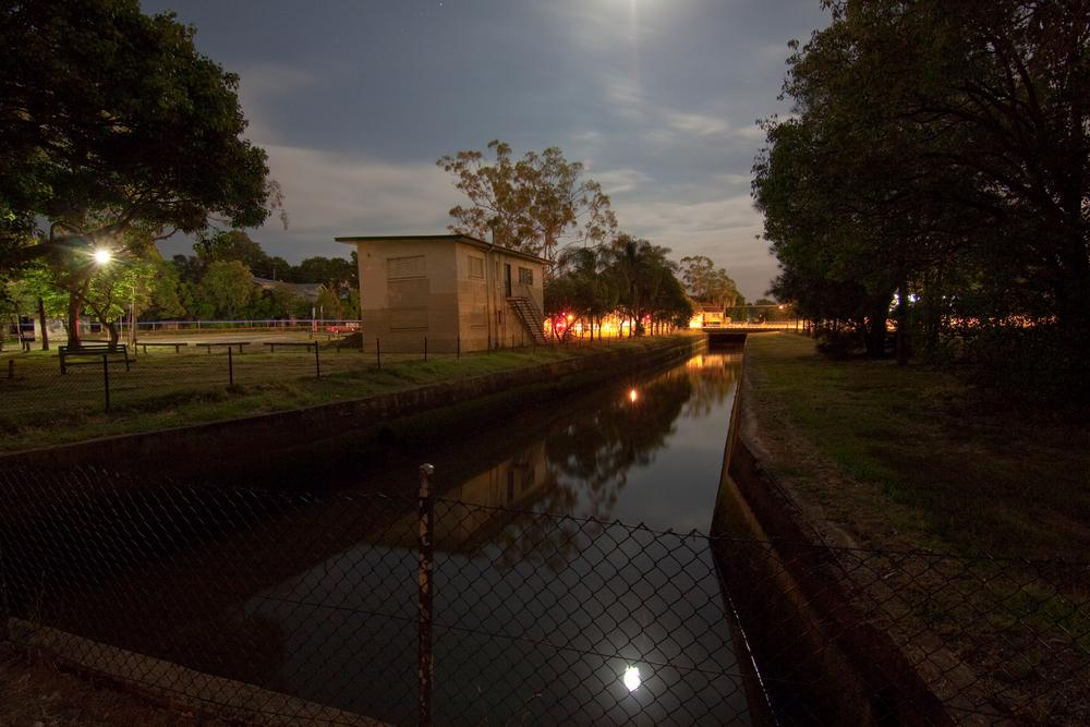Milton Drain under a full moon, 8 January 2012.
