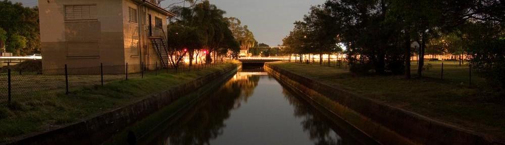 Milton Drain at night, looking towards Milton Road, 8 January 2012.