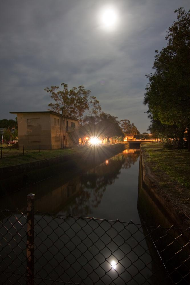 Milton Drain under a full moon, 8 January 2012. (The orb in the centre is a car's headlights.)