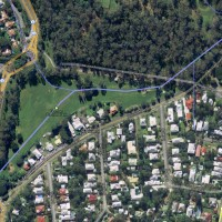 Aerial view of the creek across Norman Buchan Park and the bottom of the Fernberg property