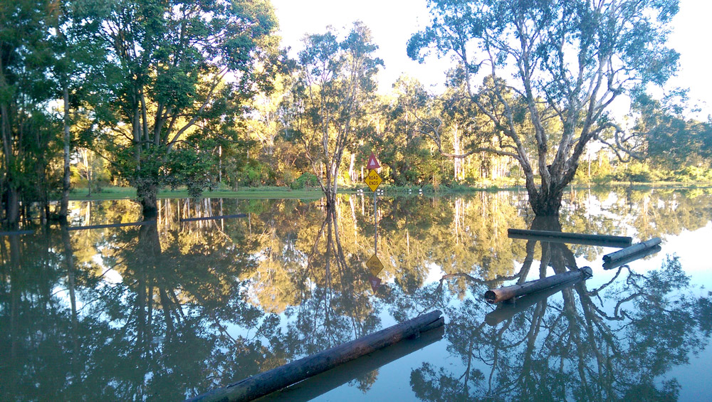 The end of Boobock St, Rocklea, flooded by Stable Swamp Creek (4:50pm, Saturday 2 May).
