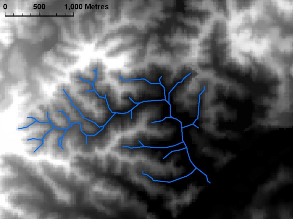 The streams of Western Creek represented as vectors over the digital elevation model