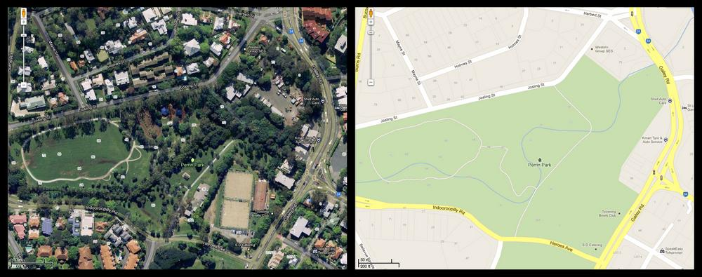 The Perrin Park section of Toowong Creek as viewed on the Map and Satellite views of Google Maps