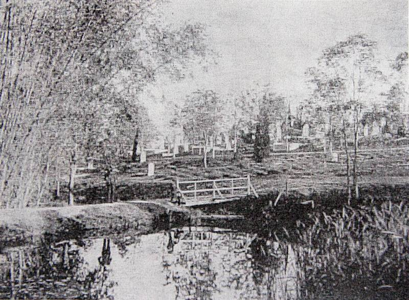 A photo (of a photocopy of a photo) of the dam in the Toowong Cemetery, taken before the dam was drained in 1905.