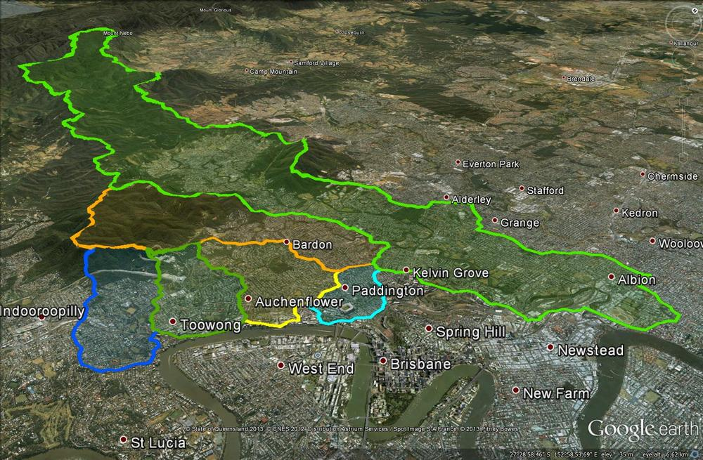 The four catchments of the Crescent Reach along with the larger catchments of Ithaca Creek and Enoggera Creek.