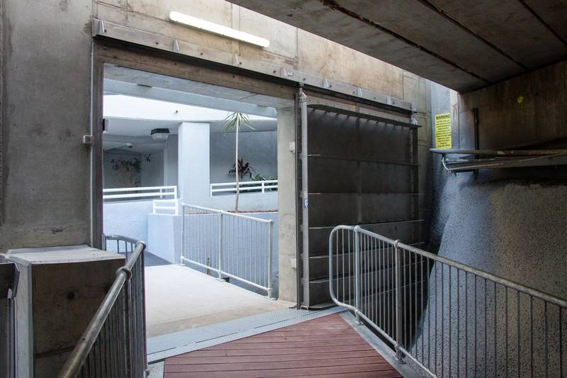 The entrance to the footbridge as seen from inside.