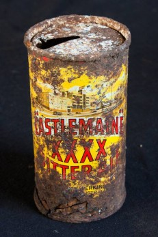 This can is rusted all over, but the colours on the label remain vibrant.